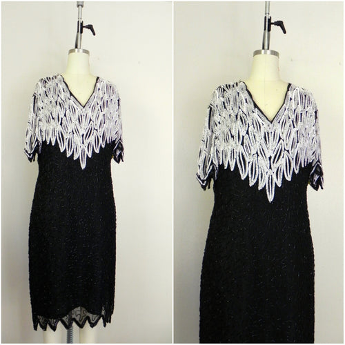 Vintage 1970s Black White Sweelo Silk Sequin Dress - Vintage World Rocks - 1