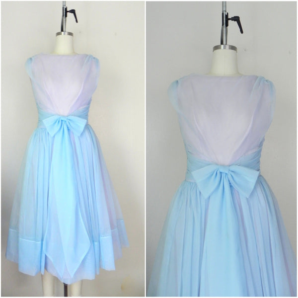 1950s Pastel Blue Sleeveless Dress - Vintage World Rocks - 1