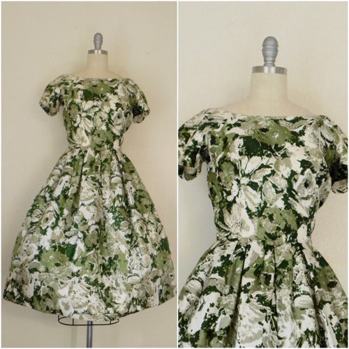 Vintage 1950s Silk Floral Green Cocktail Dress - Vintage World Rocks - 1