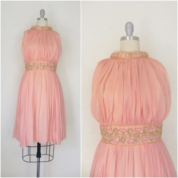 Vintage 1960s Peach Silk Chiffon Party Dress - Vintage World Rocks - 1