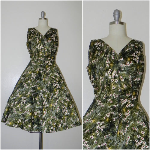Vintage 1950s Green Floral Sleeveless Dress - Vintage World Rocks - 1