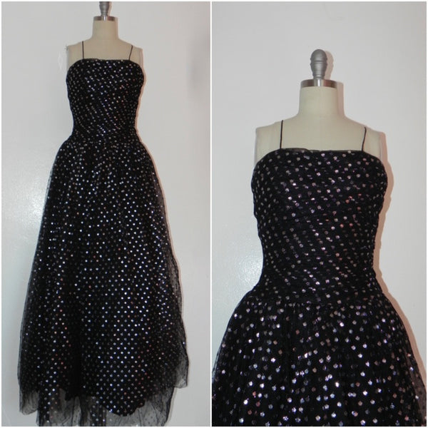 Vintage 1950s Black and Silver Dot Evening Gown - Vintage World Rocks - 1