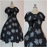 Vintage 1950s Black Heart Floral Bodice Princess Circle Dress - Vintage World Rocks - 1