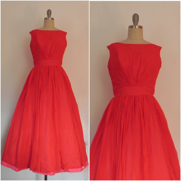 Vintage 1950s Red Chiffon  Flare Sleeveless Evening Gown/ Dress - Vintage World Rocks - 1