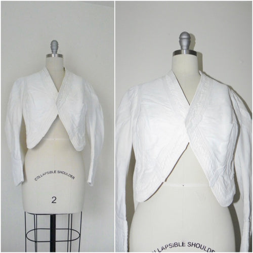 Vintage Edwardian 1900s 1910 White Faille Bolero Cotton Jacket - Vintage World Rocks - 1