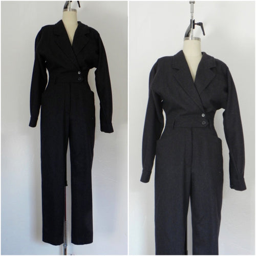 Escada Dark Grey Wool Jump Suit - Vintage World Rocks - 1