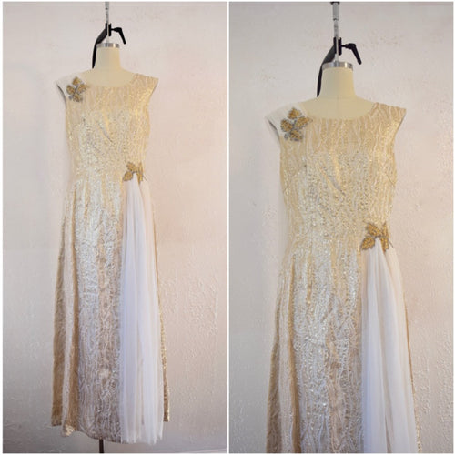 Vintage 1950s Gold Sequin Anne Shoppe Gown