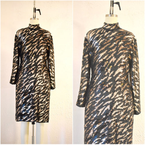 Vintage 1980s  Tiger Stripe Black Gold Sequin Dress