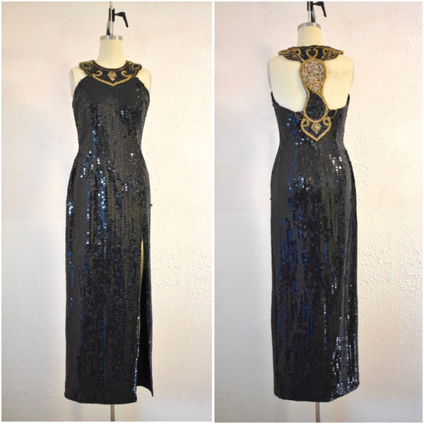 Vintage Inspired 1980s Style Sequin Black Gold Halter Evening Gown