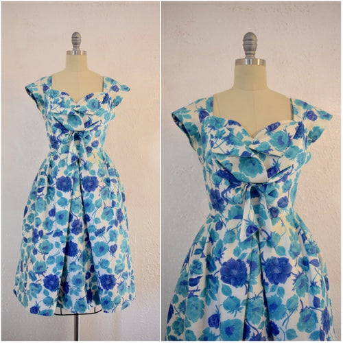 Vintage  1950s Jane Andre Blue Floral Cocktail Dress - Vintage World Rocks - 1