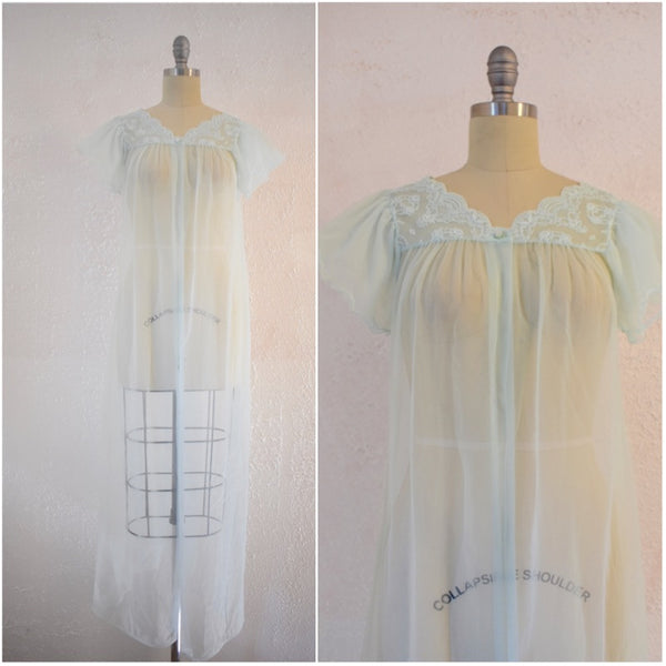 Vintage 1960s Gilead Baby Blue Nightgown Top - Vintage World Rocks - 1