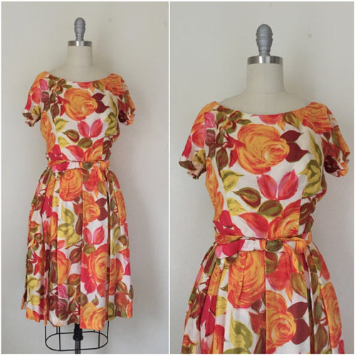 Vintage 1950s Suzy Perette Silk Orange Floral Cocktail Dress - Vintage World Rocks - 1