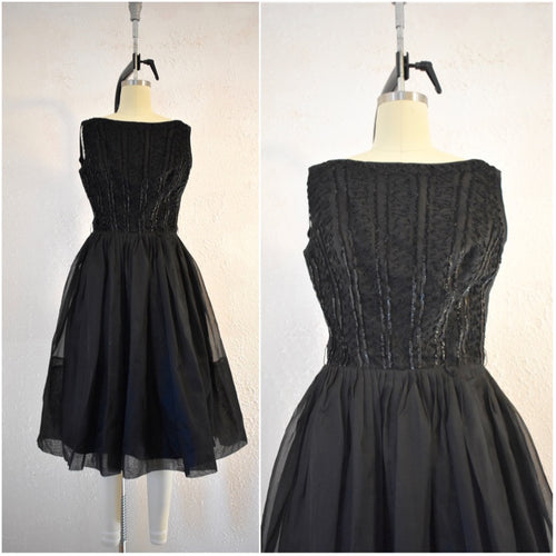Vintage 1960s Elinor Gay Original Black Sequin Day Dress - Vintage World Rocks - 1
