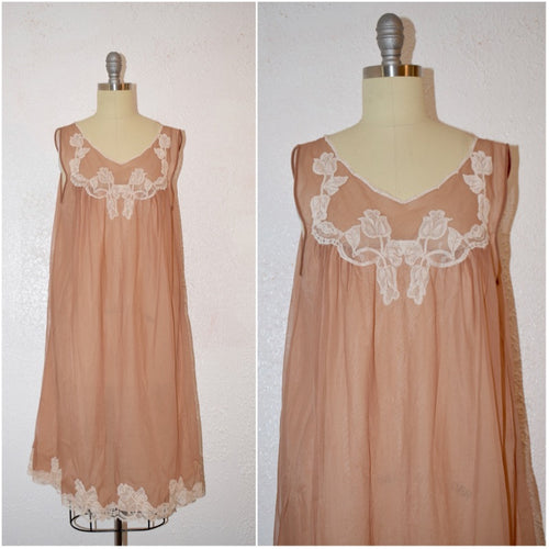 Vintage 1960 Kayser Toupe /Tan Lingerie NightGown - Vintage World Rocks - 1