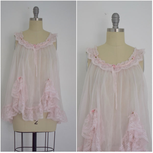 Vintage 1970s Light Pink Baby Doll Nightgown