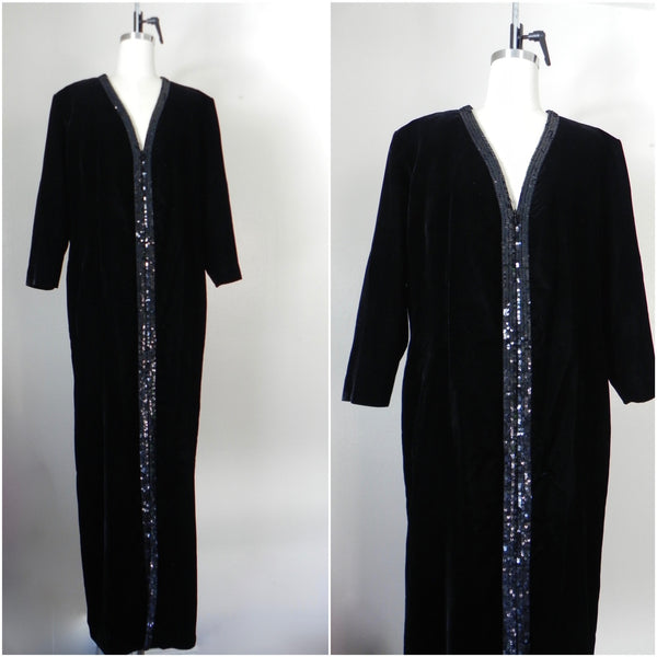Vintage Yves Saint Laurent  Rive Gauche Black Velvet Evening Gown - Vintage World Rocks - 1