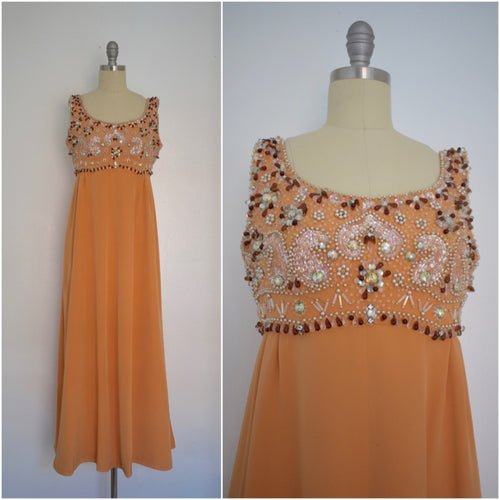 Vintage 1960s Evening Orange Sequin Beaded Sartorial Dress