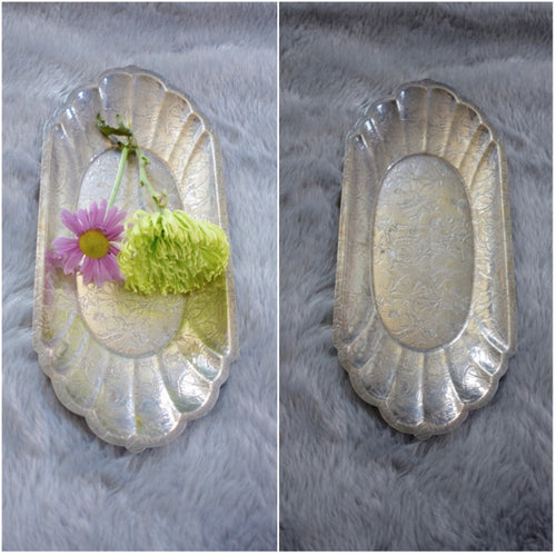 Antique Metal Tray with Engraved Floral Details