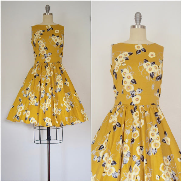 Vintage Inspired 1950s Style Yellow Floral Tea Dress