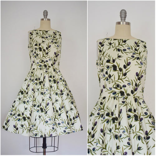 Vintage Inspired 1950s Style Olives Floral Tea Dress