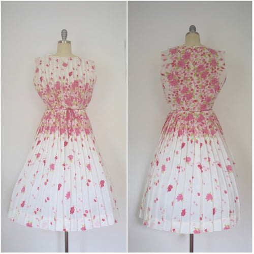 Vintage 1950s Spring Pink Floral R&K Originals Dress AS IS