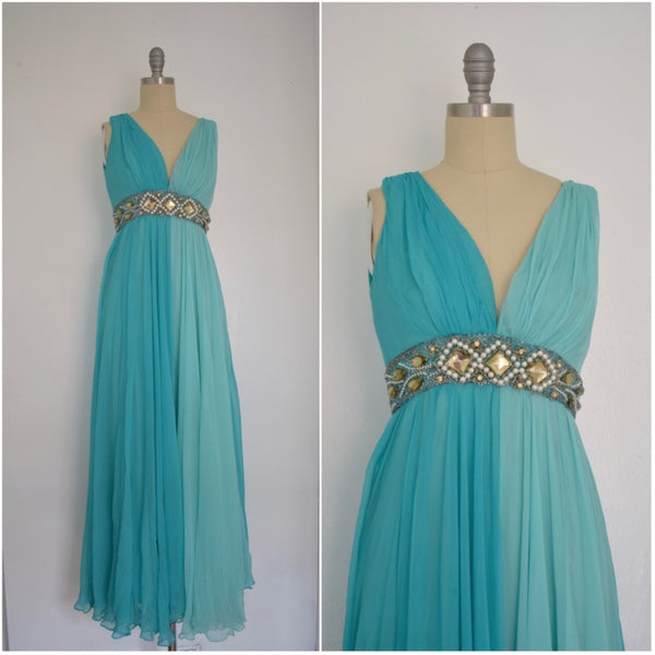 Vintage 1970s 2 tone Blue Chiffon Gown with Beading and Rhinestones AS IS