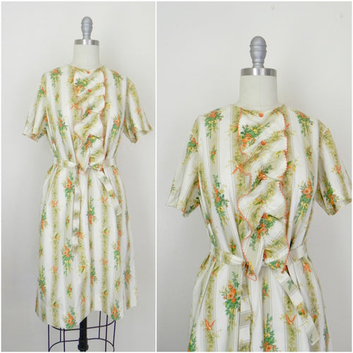 Vintage 1960s Bird Print Cotton Dress - Vintage World Rocks - 1