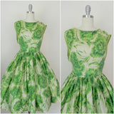 Vintage 1950s Green Floral Silk Sleeveless Dress - Vintage World Rocks - 1