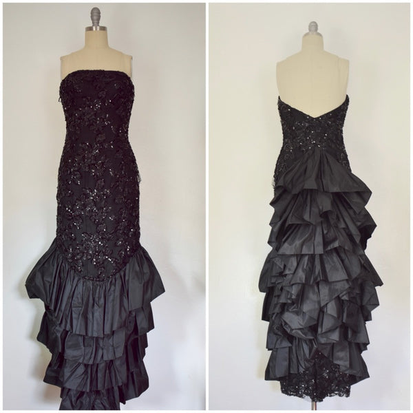 Vintage 1980s VICKY TEIL Sequined Strapless Beaded Gown