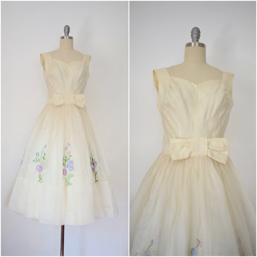 Vintage 1950s Cocktail Embroidered Floral Tulle Dress