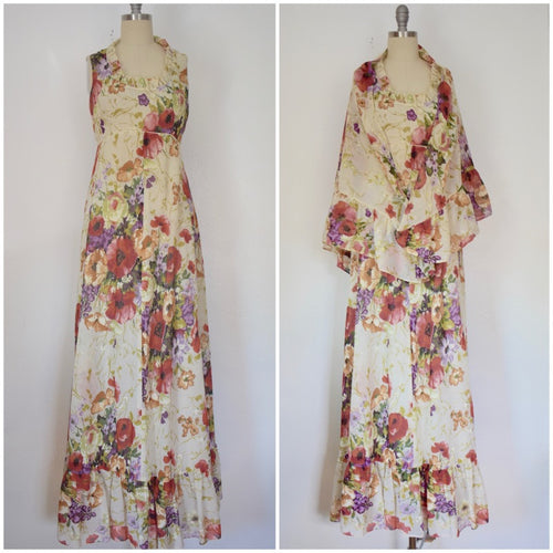 Vintage 1970s Patty O'Neil Maxi Floral Dress with Shawl