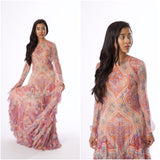 Rental or Purchase Multicolored Floral Motif Sheer Long Sleeve Gown - Vintage World Rocks - 1