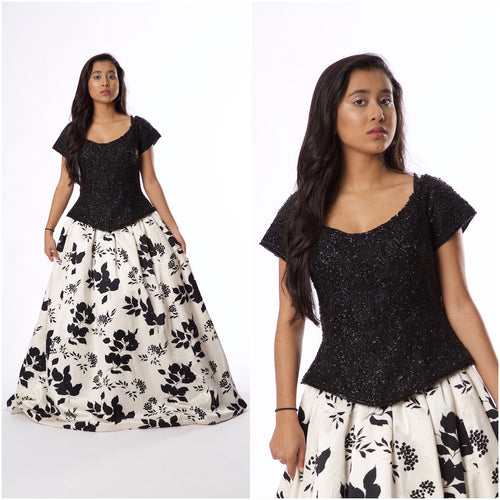 For Rental or Purchase Vintage Inspired Zola Keller Black Beaded White Floral Evening Gown - Vintage World Rocks - 1