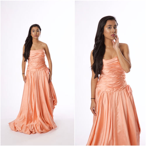 Vintage Tracy Mills Peach Strapless Dress - Vintage World Rocks - 1