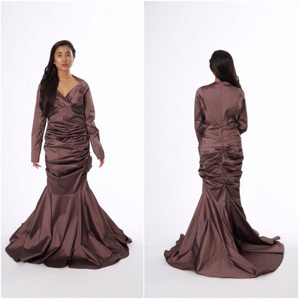 For Rental or Purchase Modern Talbot Runhof Mauve Floor Length Silk Gown - Vintage World Rocks - 1