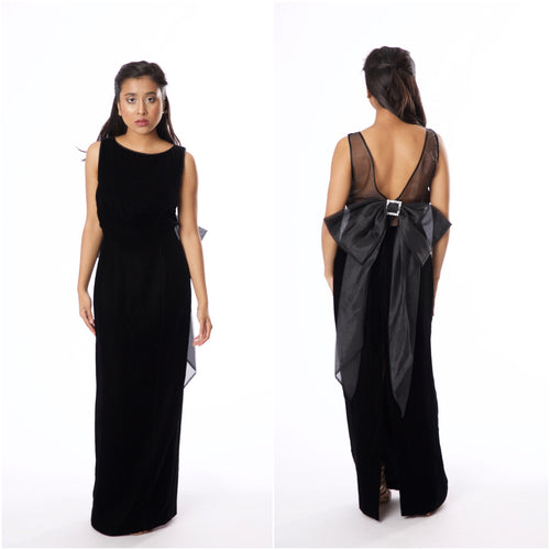 Vintage Inspired Morton Myles for Saks Fifth Ave Black Velvet Sleeveless Gown - Vintage World Rocks - 1