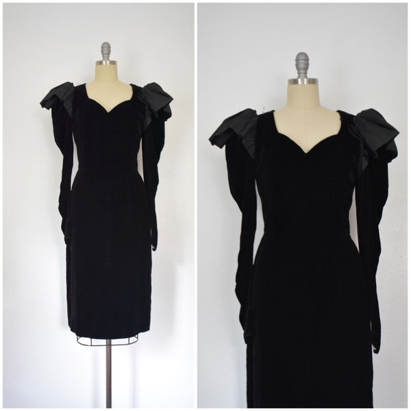 Vintage 1980s LANVIN Velvet and Taffeta Dress