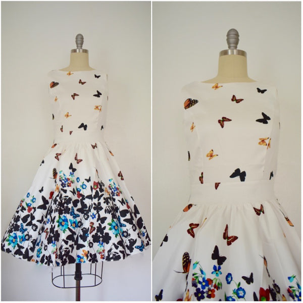 Vintage Inspired 1950s Style White Butterfly Tea Dress