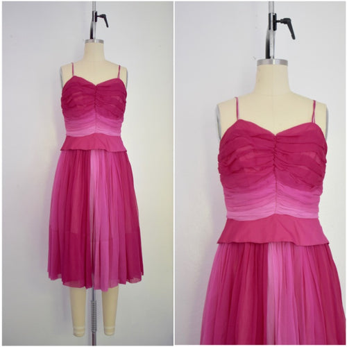 Vintage 1950s Cocktail Pink Chiffon Ombre 2 Piece Ensemble