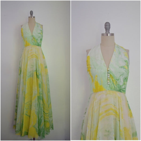 Vintage 1960s-1970s Don Luis De Espana Green Silk Chiffon Maxi Dress