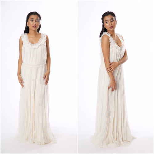 Vintage 1960s-1970s White Chiffon Gown - Vintage World Rocks - 1