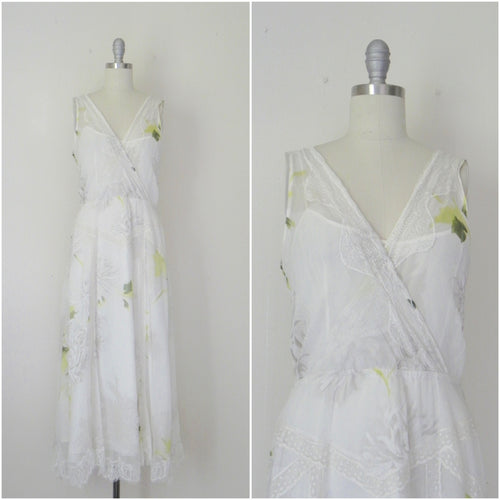 Vintage Inspired Rickie Freeman Couture Silk Chiffon Print Dress. - Vintage World Rocks - 1