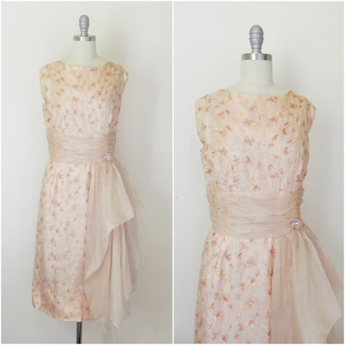 Vintage 1950s Wiggle Cocktail Organza Embroidered Dress - Vintage World Rocks - 1