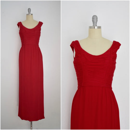 Vintage 1960s Red Malcom Starr Multi-Layered  Silk Chiffon Dress