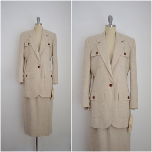 Vintage 1980s Christian Dior Deadstock Linen Skirt Suit with Tags