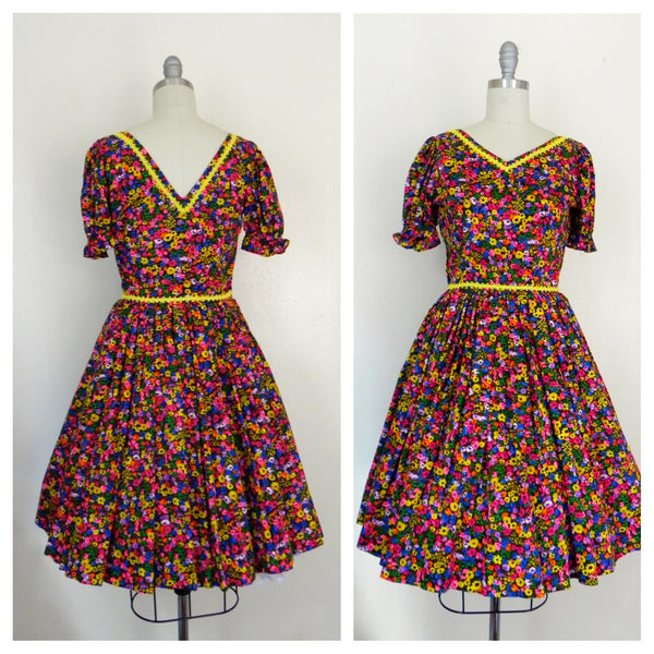Vintage 1950s Neon Floral Retro Country Dance Handmade Dress size Xs S - Vintage World Rocks - 2
