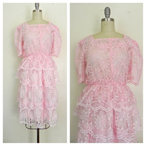 Vintage 1960s Pink Lace Tierd  Ruffled Cocktail Party Peplum Dress size S - Vintage World Rocks - 1