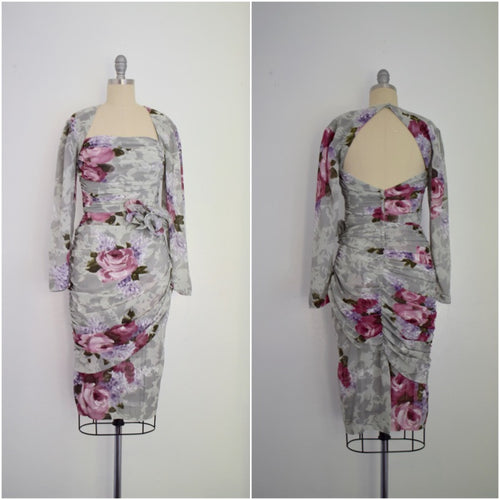 Vintage 1980s Grey Chiffon Floral Ruche Dress