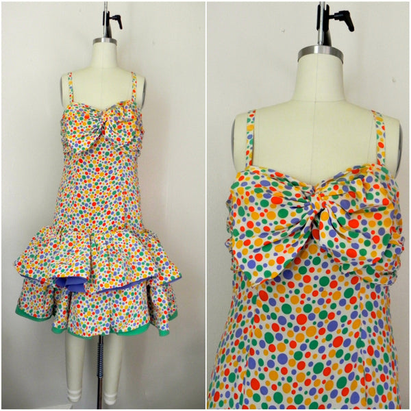 Vintage 1980s Oscar de la Renta Miss O Polka Dots Dress - Vintage World Rocks - 1