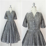 Vintage  1950's Patterned Silk Dress in Grey by R & K Original - Vintage World Rocks - 1